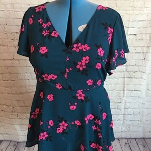 Turquoise and pink flowered blouse